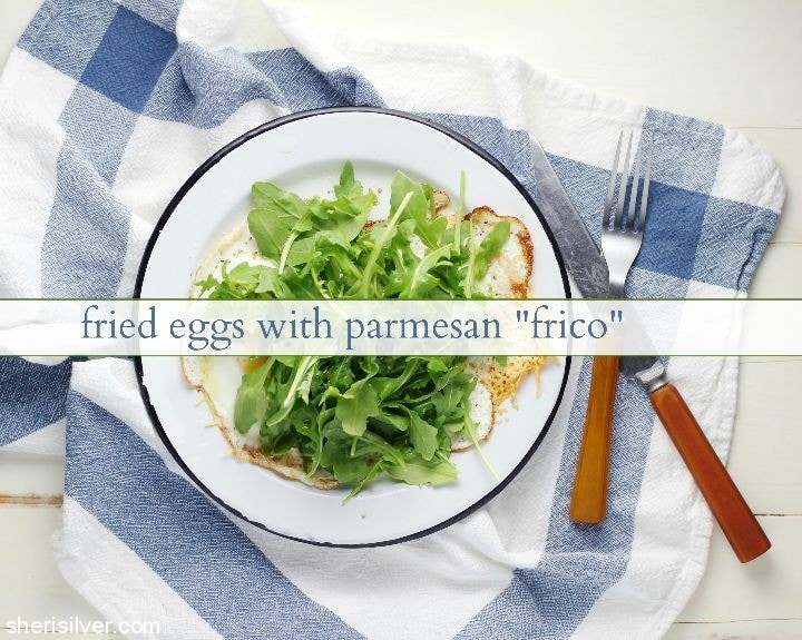 Fried Eggs with Parmesan Frico l sherisilver.com