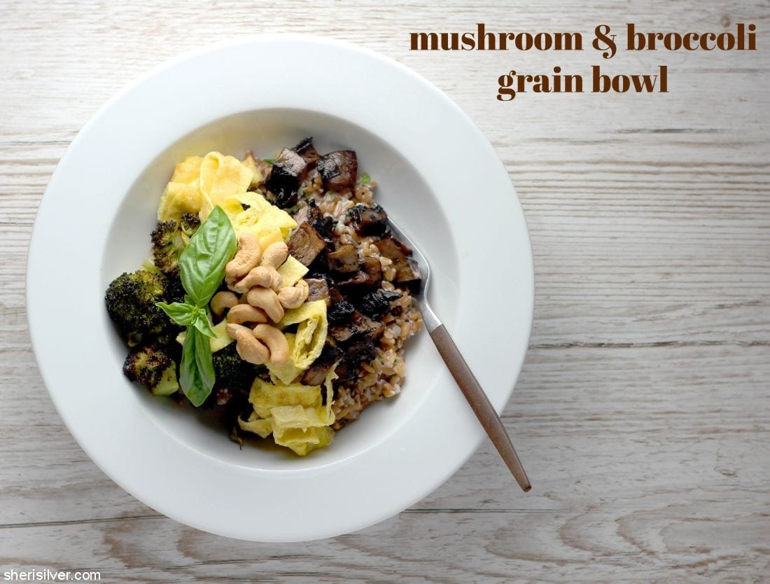 Mushroom and Broccoli Grain Bowl l sherisilver.com