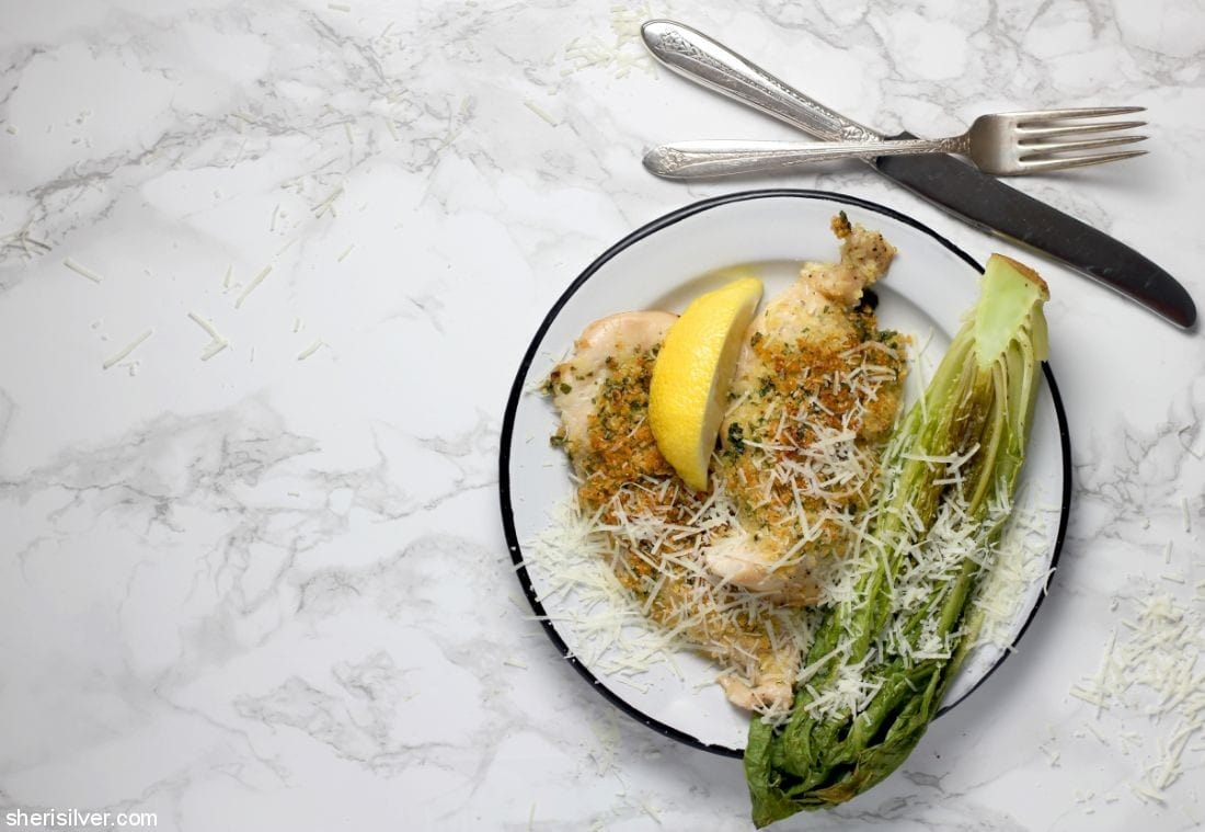 Sheet Pan Chicken Caesar Salad l sherisilver.com