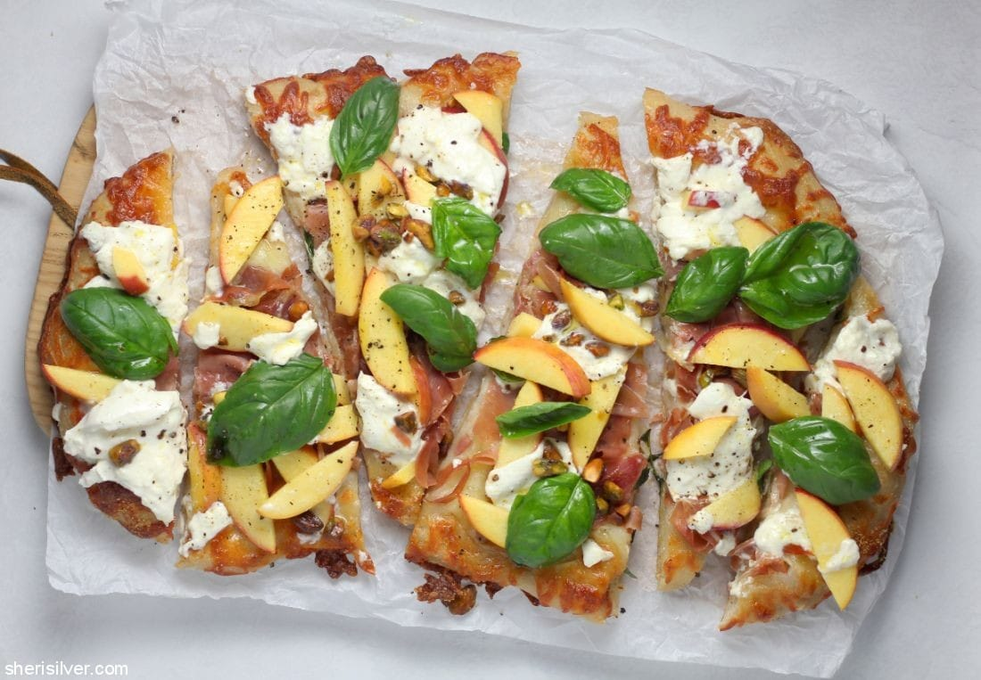 Peach Prosciutto Pizza l sherisilver.com