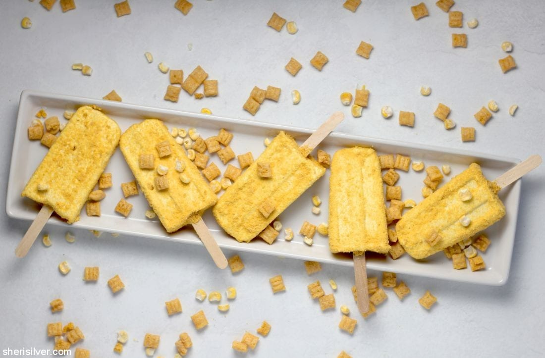 Sweet Corn Cereal Milk Pops l sherisilver.com
