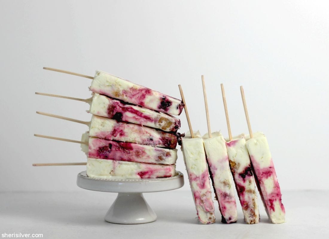 Blackberry Lime Cheesecake Pops l sherisilver.com