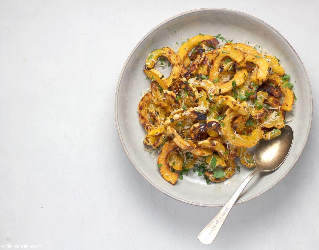 Garlic Roasted Delicata Squash l sherisilver.com