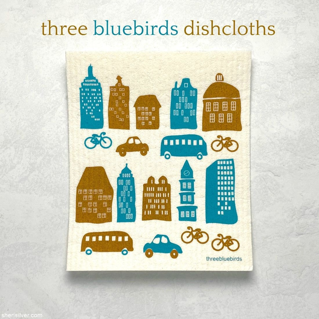 Three Bluebirds Swedish Dishcloths l sherisilver.com