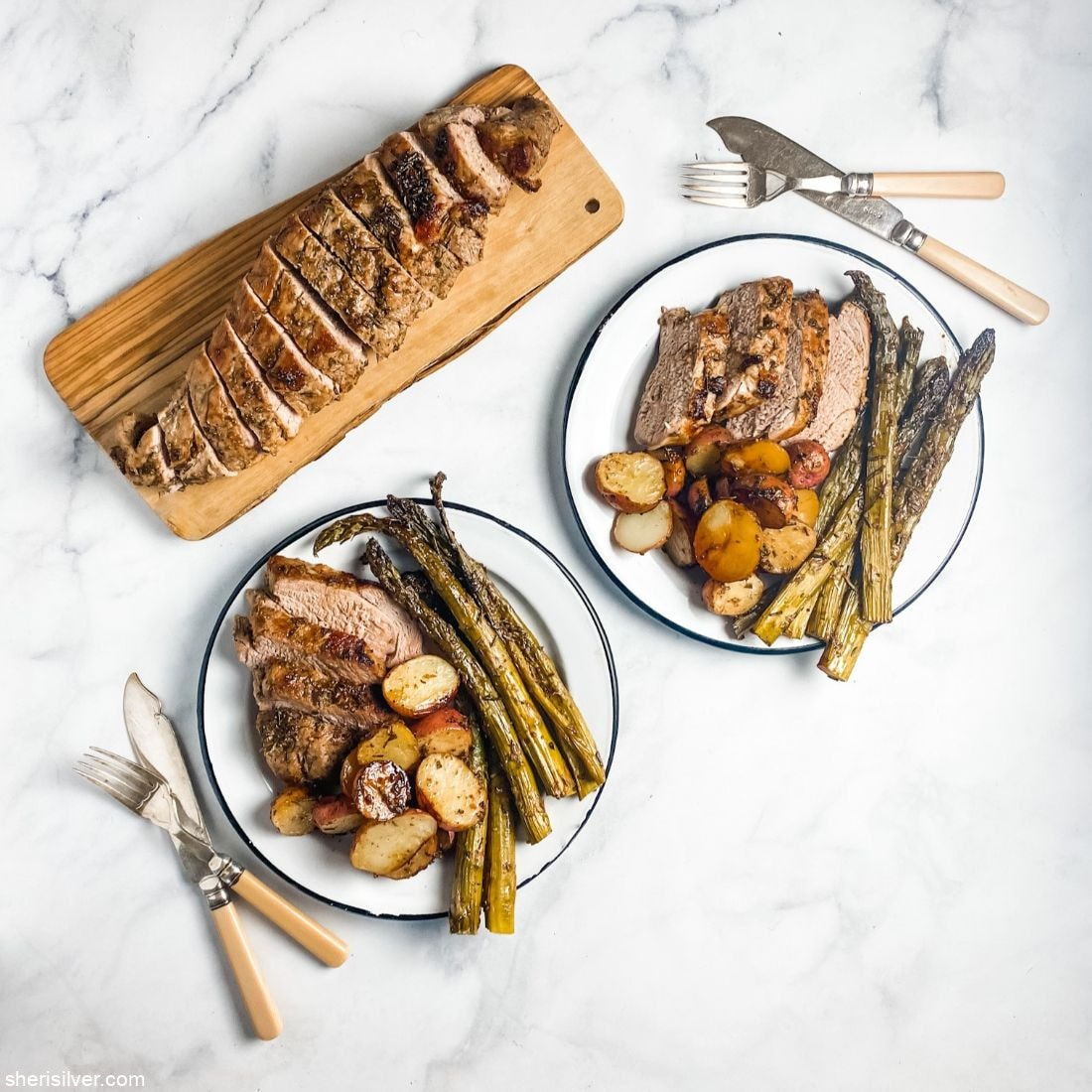 Roast Pork Tenderloin with New Potatoes and Asparagus l sherisilver.com