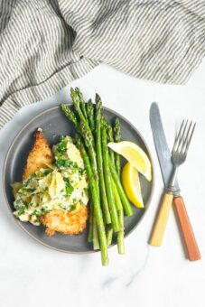 Crispy Chicken Cutlets with Artichoke Dressing l sherisilver.com