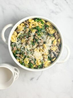Tortellini with Sausage Spinach Mushrooms l sherisilver.com